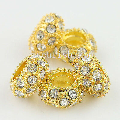 5Pcs Clear Crystal Gold Spacer Big Hole Findings Charm Beads 6x11MM Fit Bracelet