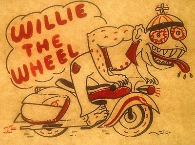 Vintage 60s Willie The Wheel Iron-On Transfer Ed Big Daddy Roth Wierdo RARE!