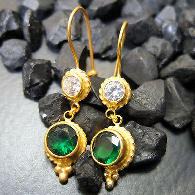 Turkish Handmade Drop Emerald & Topaz Earring 22K Gold over 925K Sterling Silver