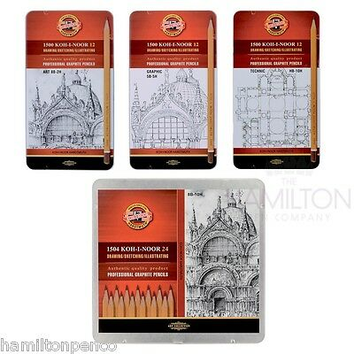 KOH-I-NOOR 1500 GRAPHITE PENCIL SETS - Mixed sets of 12 or 24 pencils