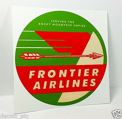 FRONTIER AIRLINES Vintage Style DECAL / Vinyl Sticker, Luggage Label