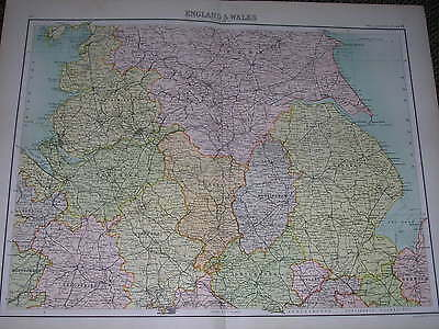 1898 LARGE VICTORIAN MAP ~ ENGLAND & WALES NORTH ~ YORK LINCOLN CHESTER DERBY