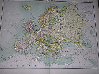 1898 LARGE VICTORIAN MAP ~ EUROPE ~ ROUTES