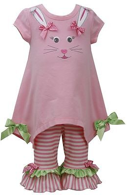 New Bonnie Jean Holiday Spring Easter Pink  Bunny Outfit Dress 12 18 24 Months