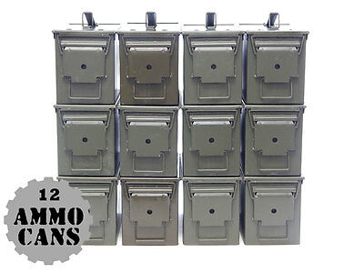 12 Twelve US Military Issue Steel M2A1 50 Cal Ammo Cans -Grade 1A Empty Surplus