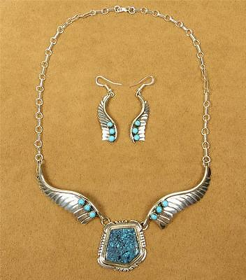 Native American Navajo Signed Jon McCray Turquoise Feather Necklace Earrings Set