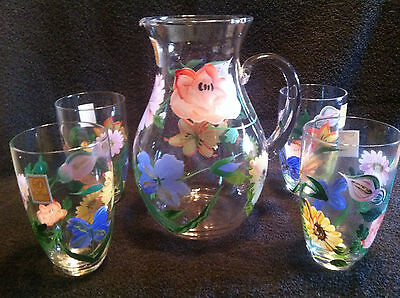 Set of 5 Handpainted Beverage set. New in box