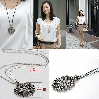 Noble Women Necklace Hollow Lotus Bohemian Long Sweater Chain Retro Elegant New