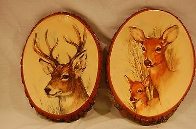Pair of Painted Tree Log Plaques by Tree House - Antlered Deer + Doe & Fawn
