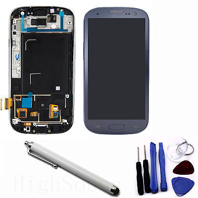 New LCD Digitizer Touch Screen Assembly for S3 i9300 Blue Frame + White Free Pen