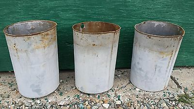 """3 OLD Tin  Sap Buckets Flower Planter Measures 9"""" High OLD POWDER BLUE FINISH"""