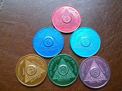 Alcoholics Anonymous AA ..Lot of 6 coins..Tin