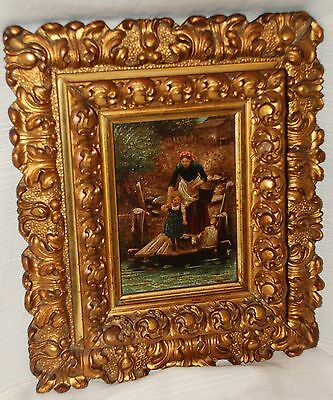 Circa 1880's Painted Lithograph of Woman & Girl on a Dock in Ornate Gilt Frame
