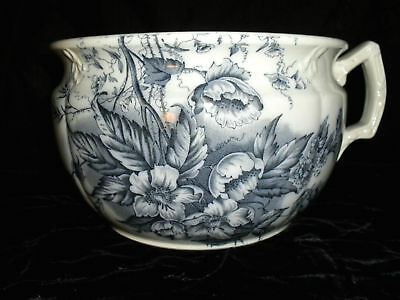 ANTIQUE~FLOW BLUE~TRANSFERWARE CHAMBER POT~VERY OLD