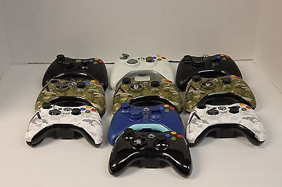 Lot of 10 Broken Genuine XBox 360 Wireless Controllers, AS-IS