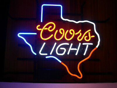 NEW COORS LIGHT TEXAS LONE STAR STATE BEER REAL GLASS NEON LIGHT BAR PUB  SIGN