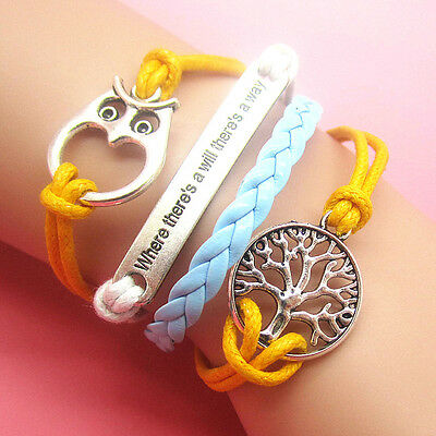 NEW Hot sell Jewelry love Owl Color Leather Cute Bracelet Bronze Silver DIY B44