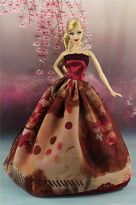 Dark Red Fashion Princess Party Dress/Wedding Clothes/Gown For Barbie Doll y29P7