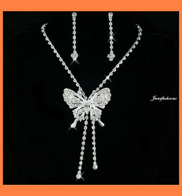 BUTTERFLY CLEAR AUSTRIAN RHINESTONE CRYSTAL NECKLACE EARRINGS SET BRIDAL N58