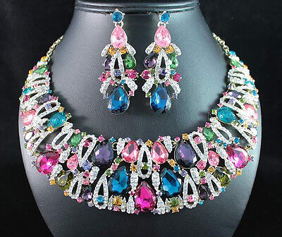 GRAND MULTI-COLOR AUSTRIAN RHINESTONE CRYSTAL BIB NECKLACE EARRINGS SET N1705