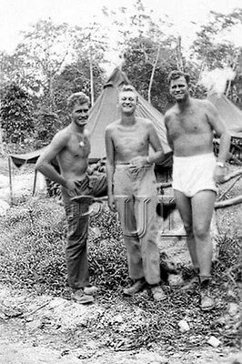 WW2 Vintage Photo 1940's Handsome Near Nude US Army Soldiers gay interest 0182