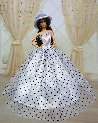 Fashion Princess Party Dress/Clothes/Gown+Hat For Barbie Doll S504P7