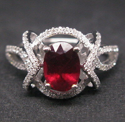 Solid 14K White Gold Genuine Natural VS Diamond Blood Ruby Engagement Ring