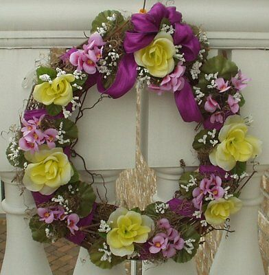 Yellow Roses, White & Lavender field flowers, Purple Bow Door/Wall Easter Wreath