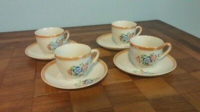Vintage Child Tea Set with Four Cups and 5 Saucers Made in Japan
