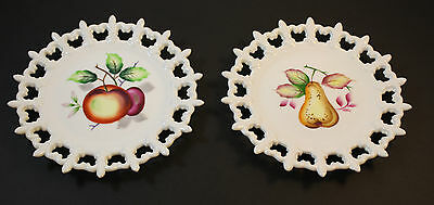 2 Lefton China Hand Painted Fruit Pear Apple Plates Reticulated Fleur de Lis