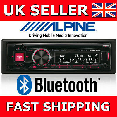 Alpine CDE-185BT Car CD MP3 Stereo TuneIt Bluetooth USB iPod iPhone Android