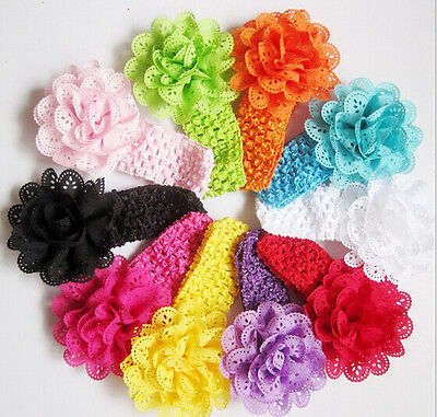 10pcs Girl Baby Toddler Lace Flower Headband Hair Band Accessories Headwear h08