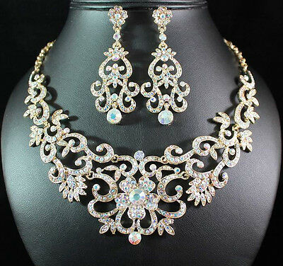 GORGEOUS AUSTRIAN RHINESTONE CRYSTAL BIB NECKLACE EARRINGS SET BRIDAL N1515-GOLD