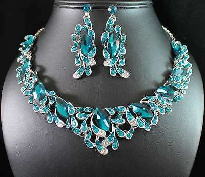 STYLISH TEAL AUSTRIAN RHINESTONE CRYSTAL NECKLACE EARRINGS SET WED BRIDAL N1769T