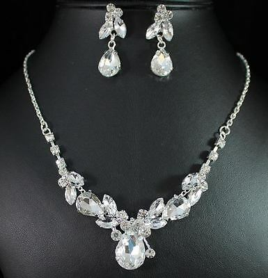 FLORAL CLEAR AUSTRIAN RHINESTONE CRYSTAL NECKLACE EARRINGS SET BRIDAL PROM N1389