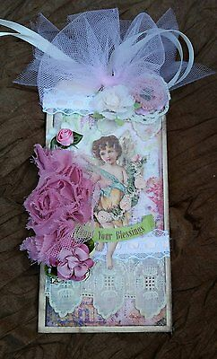 Vintage Lace w/ Angel Premade Scrapbook,Decor, Gift Tag, Card, by Scrap Couture