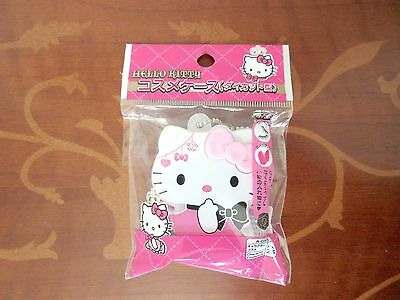 NEW Hello Kitty Pink Ribbon Cosmetics Plastic Cosme Case Japan Limited
