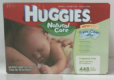 NEW Huggies 448 Count Natural Care Fragrance Free Baby Wipes Retail Case
