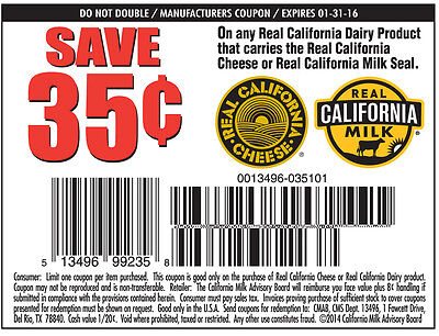 20 Save $.35 cents on any 1 Gallon of Real California Milk Exp. 1/31/16