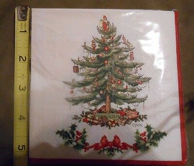 SPODE Christmas Tree 20 Beverage Napkins New in package!