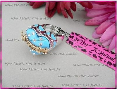 Free shipping Betsey Johnson Blue heart-shaped crystal ring a R021