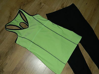 LNWOT Girl nice sport outfit tank green/black with black legging  XS/12-14