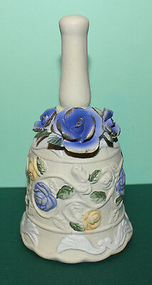 Blue Rose Porcelain Bell 5.5 inche tall 3 inche wide base QQ1