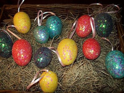 NEW SET OF 12 bright GLITTER EASTER EGG w RIBBON HANGING ORNAMENTS FEATHER TREE