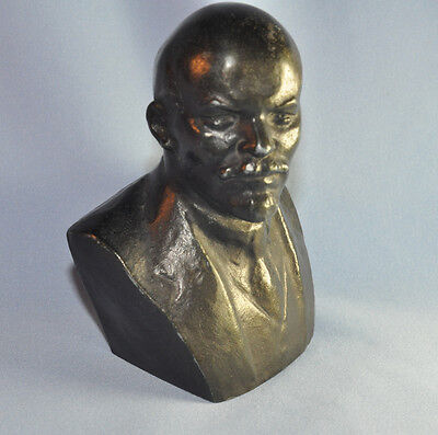OLD VINTAGE RUSSIAN COMMUNIST METAL LENIN FIGURE BUST USSR ORIGINAL STATUE