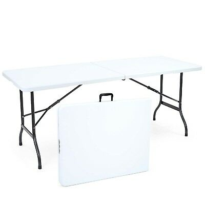 6ft Folding Trestle Table Portable Blow Moulded Camping Garden Worktop
