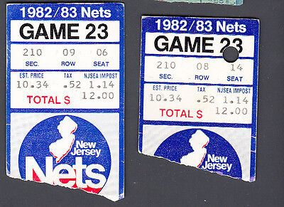 New Jersey Nets vs Chicago Bulls Feb 4, 1983 Game 23 Used Ticket Stub lot of 2