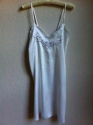 White Night Gown With Lavender Rose Embroidery