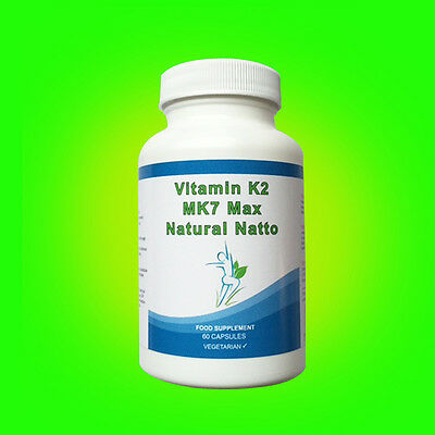 VITAMIN K2 HIGH STRENGTH 100mcg Capsules MK7 NATURAL NATTO Vegetarian