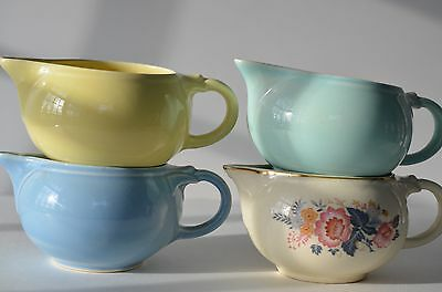 LOT OF 4 LuRAY PASTELS CREAMERS: YELLOW, FLORAL, BLUE & AQUA